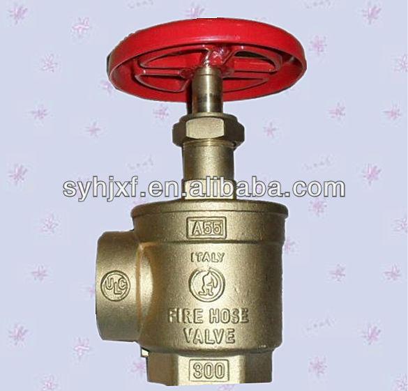 Brass right angle fire hose valve