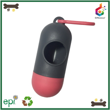 Pill shaped portable print eco-friendly pet waste bag dispenser