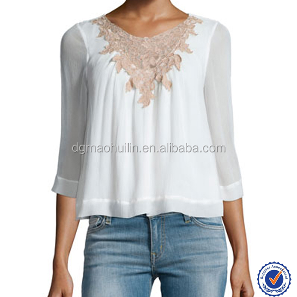 New pattern ladies wear clothing latest design lace-inset white chiffon peasant blouse