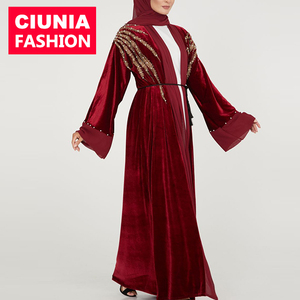 ebe4f5609df CM78  Plus Size Clothing Long Muslim Dress Kaftan Turkish Arab Islamic Lady  Robe Velvet Abaya