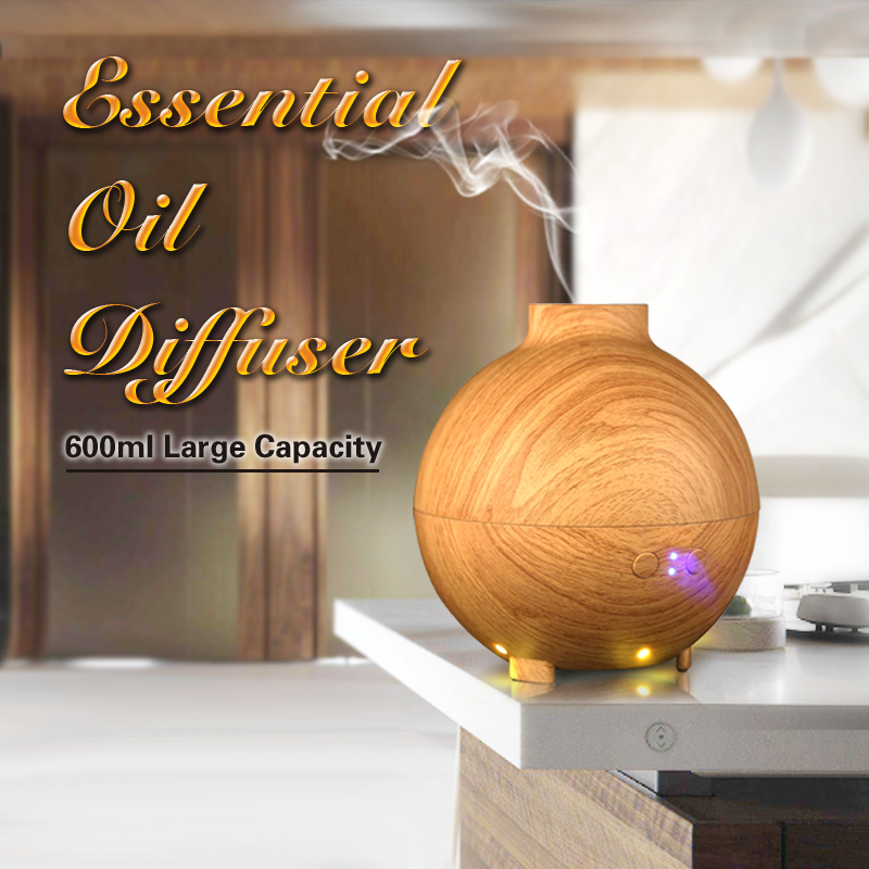 600ml large capacity Wooden Design Humidifier Aroma Fragrance Difuser
