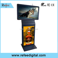 Computer monitor 42 inch floor stand double screen ad display, network LCD digital signage