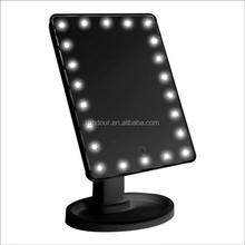 360 Degree Rotation Touch Screen Makeup Mirror With LED Light Makeup Tool Vanity Table Mirror With 22 LED Lights