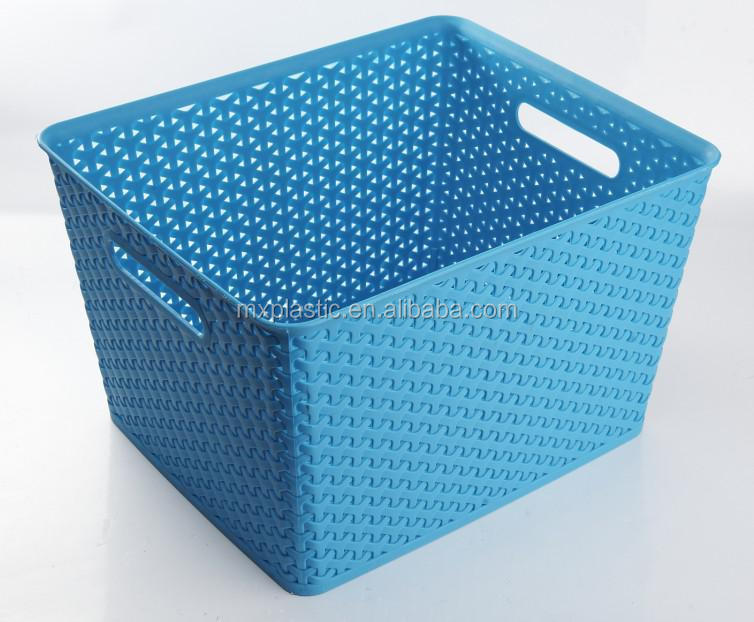 hot sale home use colorful high quality plastic storage basket with cover