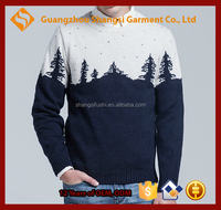 guangzhou men snow mountain christmas tree print crewneck wool pullover sweater