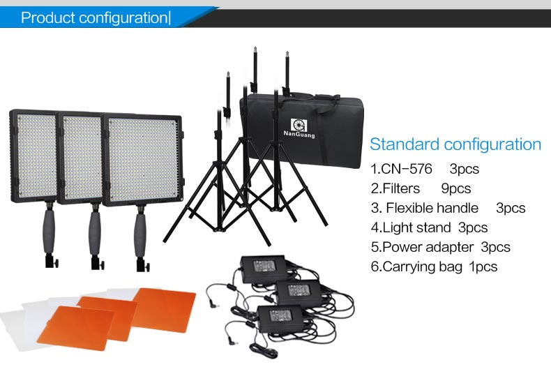 Nanguang lighting led 105W CN-576 3kit+T Portable Photo Studio LED lighting Kit for Photo and Video with quite competitive price