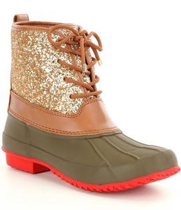 Wholesale New Arrive Women Monogrammed Gold Glitter Duck Boots