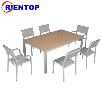 Mesh sling dining chair with polywood table dining table set