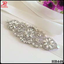 cheap crystal rhinestone bridal applique for wedding dress or wedding sash belt
