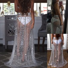 NJ0004 New summer maxi dress shiny sexy transparent ladies long skirt