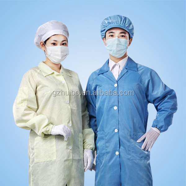 esd clean room smock, antistatic lab coat