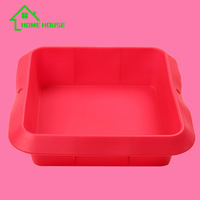 wholesales square shaped silicone cake mold Square toast silicone mold 8 inch square layer cake mould
