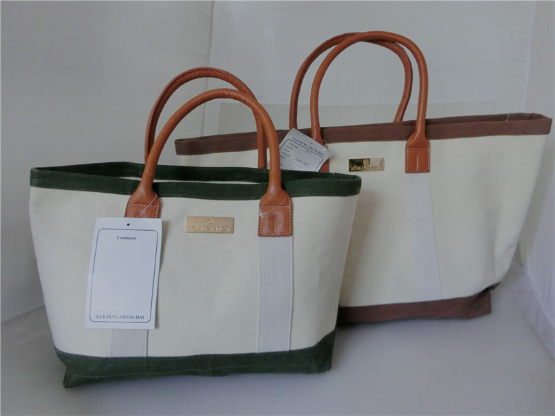Promotion Beige Heavy Duty Shopping Canvas Tote Bag with Leather Handles