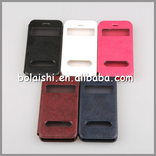 2013 New Arrival Open Windows Clip Leather Case For iPhone 5 / 5S Factory Supply