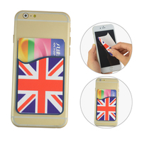 Promotion cell phone credit card holder with screen cleaner