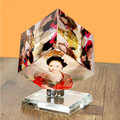 Creative and personalized crystal photo frame magic cube with customized three photos for birthday gift