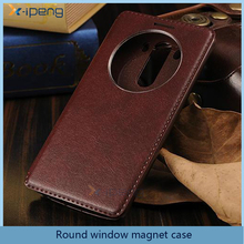 Round window wallet stand mobile phoneLeather flip cover case for asus zenfone 2 z008d