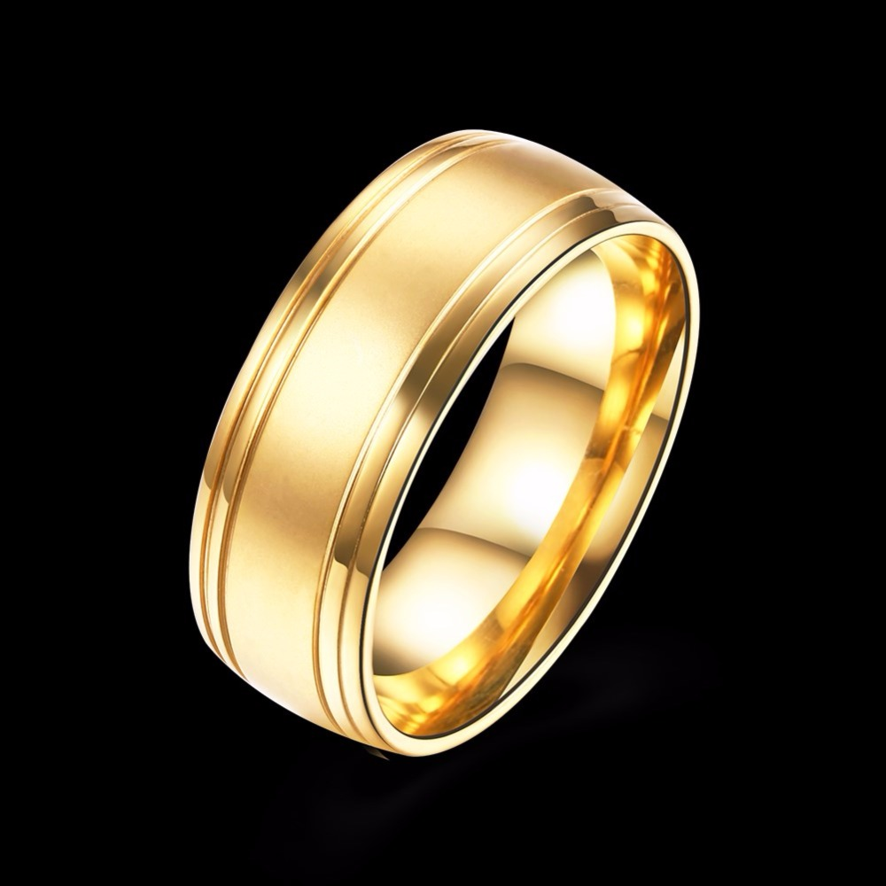 Custom Popular Fashion Gold Plated Stainless Steel Cheap Metal Mens Rings