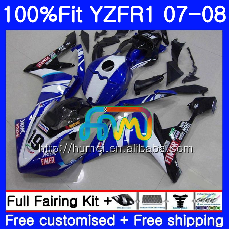 Injection Body For YAMAHA YZF <strong>R1</strong> 07 08 YZF-<strong>R1</strong> 2007 <strong>2008</strong> 90HM36 YZF1000 blue white YZFR1 YZF-1000 YZF 1000 R 1 07 08 <strong>Fairings</strong>