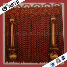 Beautiful Gimp and Polyester Yarn Bullion Fringe Tassel with Wood Beads Pendant for Curtain,Sofa,and Furniture Decoration