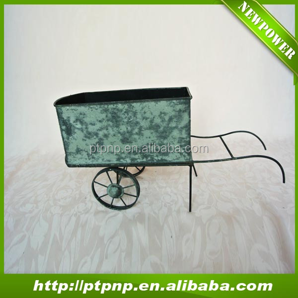 shabby cart metal craft flower pot