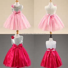 Shinny Red/ Pink baby girl party dress children frocks designs baby girl party dress imported from china