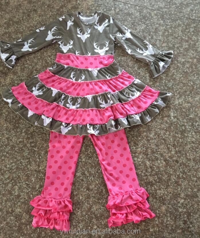 Bulk wholesale kids fall clothing sets dress and triple ruffle pant clothing sets teen girls boutique cheap wholesale outfits