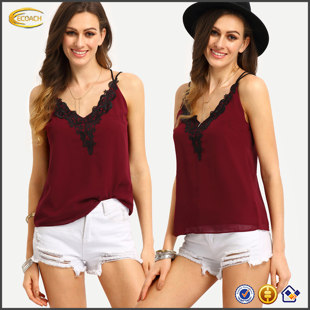 Ecoach 2017 latest fashion top design contrast lace neck crisscross cami ladies new design fashion top fashion top