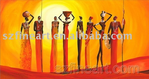Vibrant Color Group African Oil Paintings of Modern Style(Hot seller)
