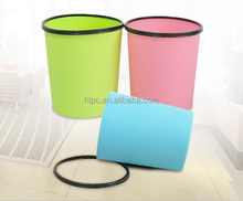 2017 factory wholesale colorful Household PP plastic trash can in round bin with ring for trash bag