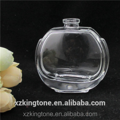 55 ml wholesale unique design 55ml flat ball glass bottle for perfume with plastic lid