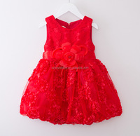 Fashion girl Beautiful Children flower girl dress red princess baby girl wedding dress for party birthday