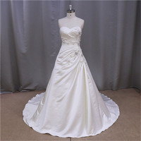 Ivory Court Train gathered cheap satin ball gown wedding dress