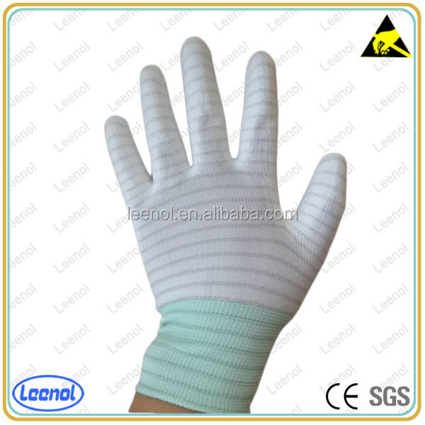 LN-8007P PU Palm Coated ESD Handing Glove/Seamless Knit Glove