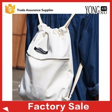 wholesale custom organic cotton canvas school backpack drawstring shopping bag with zipper pocket