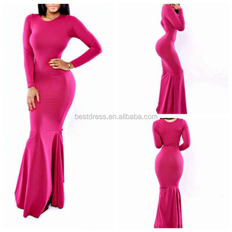 NEW evening dress 2014 sexy bodycon new design fishtailed maxi dresses long sleeved in-stock