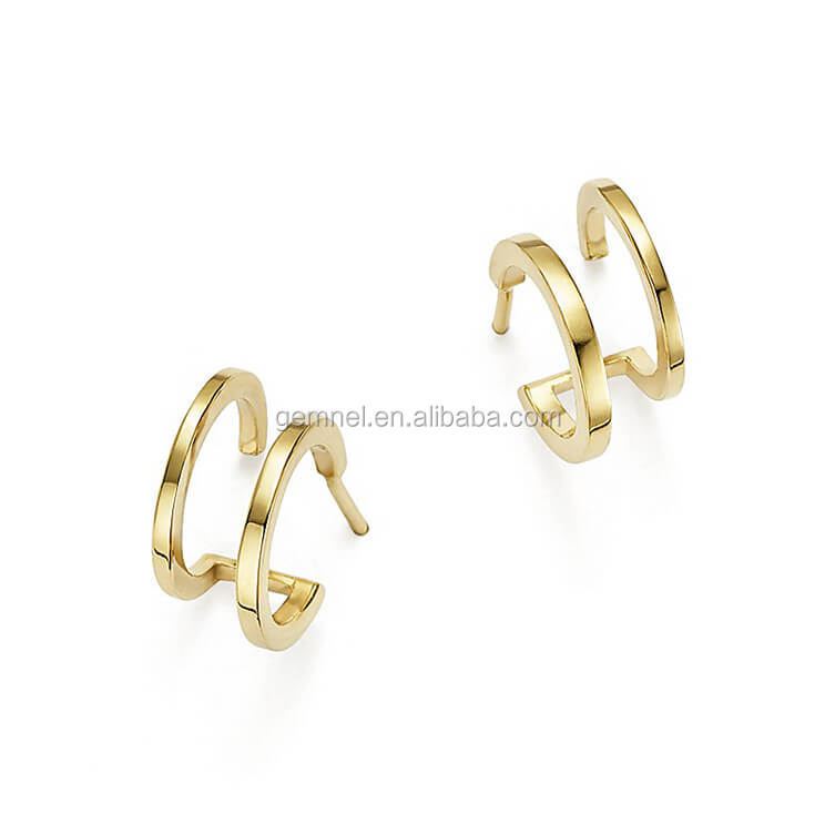 Gemnel new fancy 14k yellow gold double hoop huggie earring for ladies