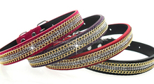 Personalized pu leather western dog collar with gold chain and bling diamante rhinestones
