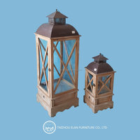 Hot selling home decoration set of 2 antique glass and wooden lantern with handle