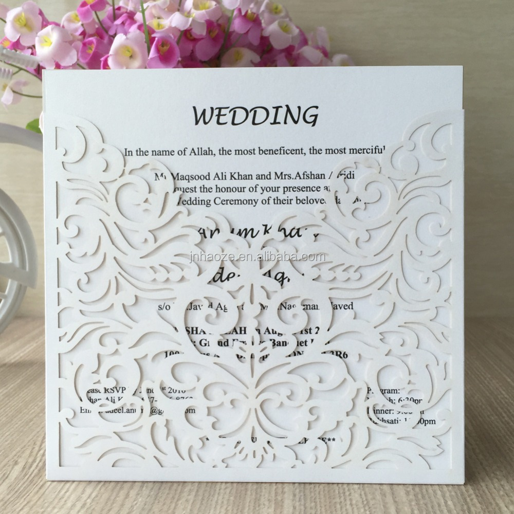 Free shipping white color carving flowers pocket design Hot Elegant Laser Cut <strong>Wedding</strong> Invitation Cards <strong>wedding</strong> from factory