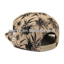 whole printed pattern hemp snapback cap hat