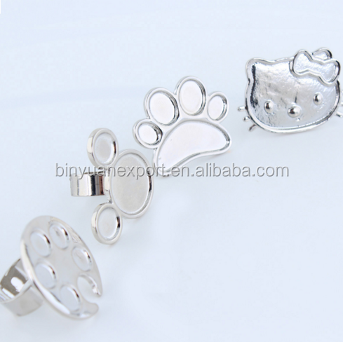 Mini cut design ring stainless paint finger palette for nail art