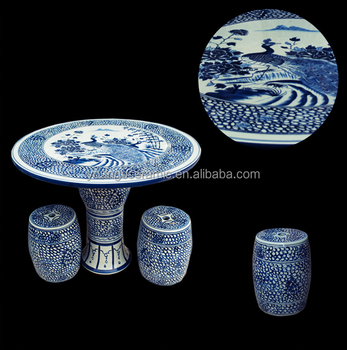 Chinse style whit blue porcelain garden tables and chairs