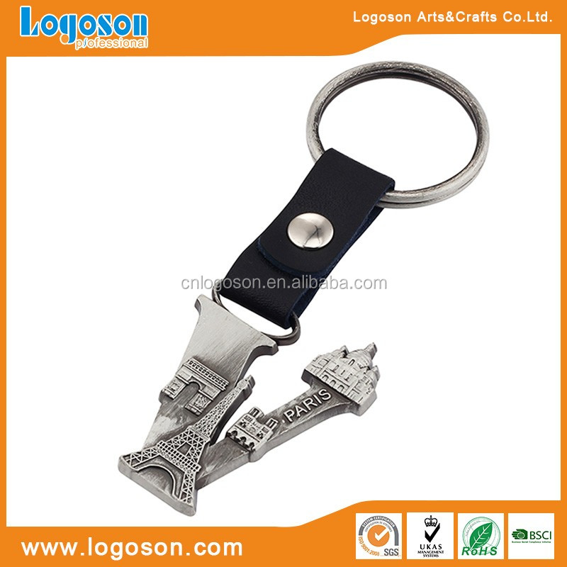 Custom Logo Metal Paris Emboss Superior Quality Leather Keyring