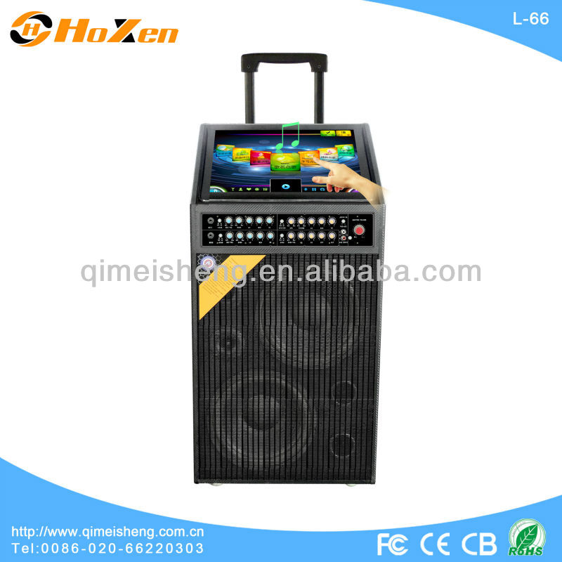 New products wireless moving KTV portable bluetooth speaker for guitar Remote control,Wireless mic L-66