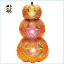 Halloween Party Glitter Stack Orange Plastic Light Up Pumpkins HPC-0924