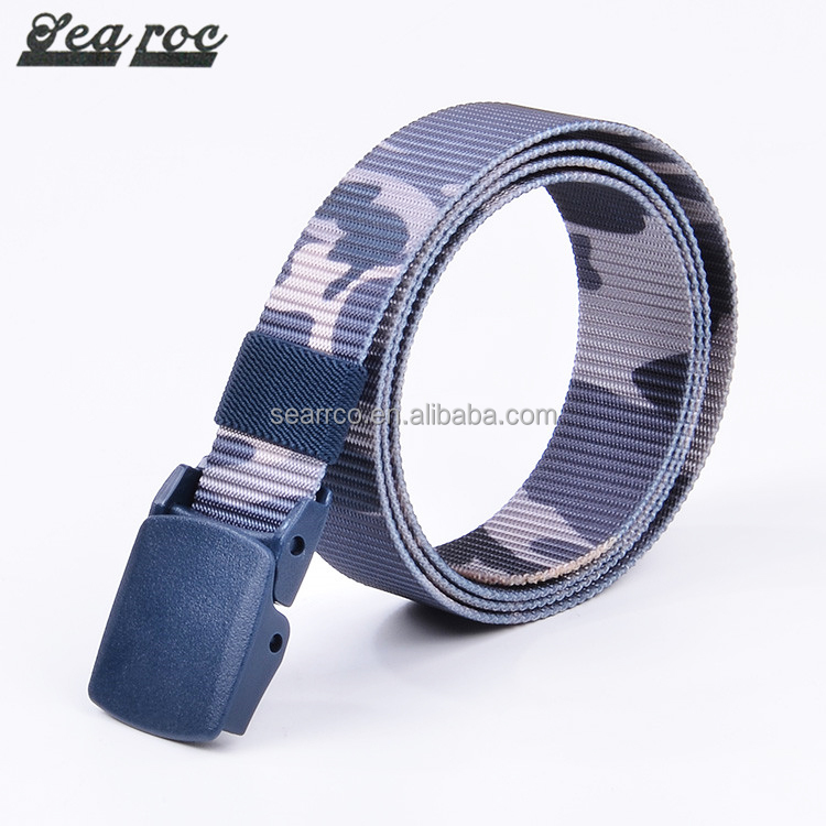 Chinese supplier Wholesale 2017 new design outdoor print belt plastic buckle belt