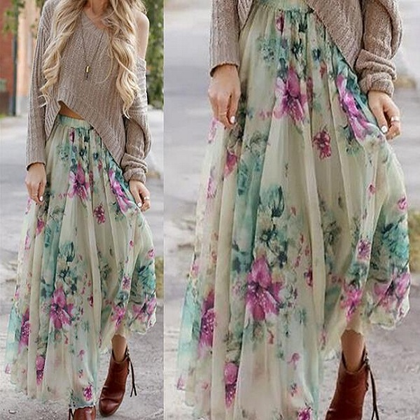 F40910A Wholesale women skirt bohemian style beautiful floral print ladies skirt