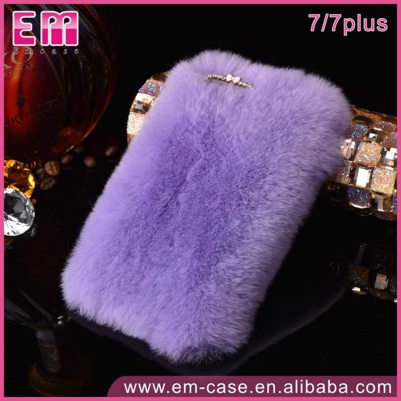 Women Lady Warm Fur Phone Cover For iPhone 7 Plush Hair Fluffy Rabbit Fur Case for iPhone 7 7 Plus