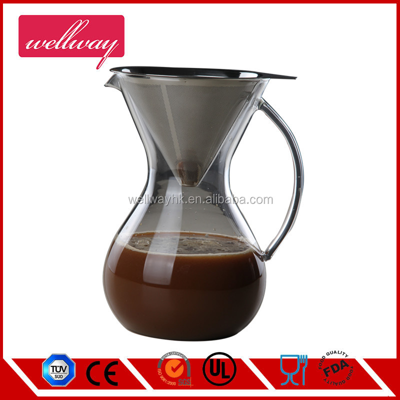 Large Pour Over Coffee Maker with handle For perfect hand drip coffee with glass carafe 1000ml/ 8cup/4mug 34OZ